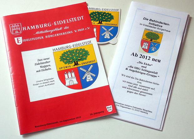 """Wappen für Eidelstedt - """"gemeinfreie"""" Anwendungsbeispiele: Mitteilungsblatt des Bürgervereins und Faltblatt einer Behindertenselbsthiflegruppe"""