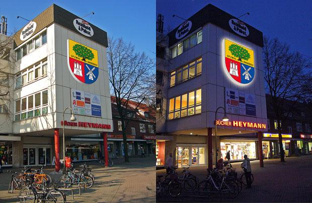 Wappen für Eidelstedt – Gestaltungsentwurf für Fassadenschild auf dem Gebäude von Reinhold + Pabst