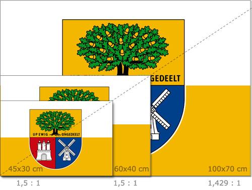 Größen und Proportionen der Flagge